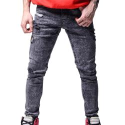 Mens Frayed Hole Slim Fit Biker Denim Pants Dark Grey 3XL