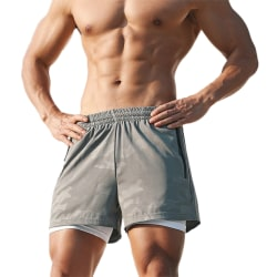 Mens Gym Sport Training Shorts Running Workout Short Pants Grey 3XL