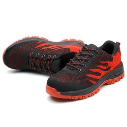 Mens Lightweight Work Safety Shoes Steel Toe Cap Boots Sneakers Red 43
