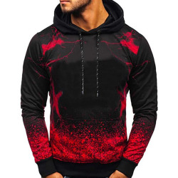 Mens Long Sleeve Hoodies Gradient Sweater Jumper Pullover Tops Red L