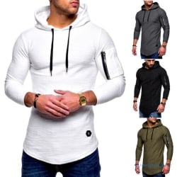 Mens Muscle Hoodies Gym Sports Zip Hooded Black M