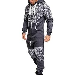 Mens Pajamas Sweatshirt Hoodies Jumpsuit Loungewear Grey L