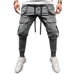 Mens Pants Drawstring Multi Pockets Cargo Trousers Gray L