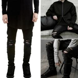 Mens Skinny Runway Distressed Slim Elastic Jeans black 33