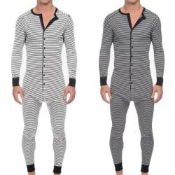 Mens Striped Long Sleeve Jumpsuit Pyjamas Romper Sleepwear Grey XL