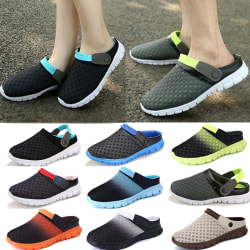 Mens Summer Casual Slippers Closed Toe Beach Shoes grey&green 42