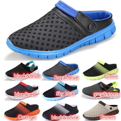 Mens Summer Casual Slippers Closed Toe Beach Shoes black&blue 45