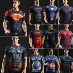 Mens Superhero Compression Slim T Shirt Captain America M