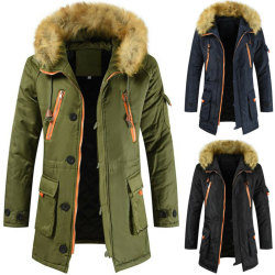 Mens Winter Padded Warm Hooded Jackets Zipper Coat Navy L