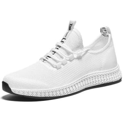 Mesh Breathable Mens Sport Running Shoes Casual Solid white 41