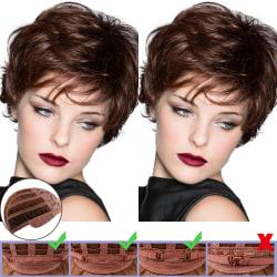 Women Micro-curly Short Hair Wig Natural Breathable Temperament Deep brown