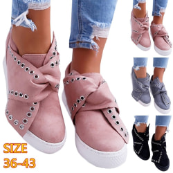 New Fashion Women Solid Color Rivet Nonslip Shoes pink 38