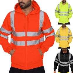 Mens High Visible Safety Hoodie Coat Workout Vest Jacket Jumper orange M