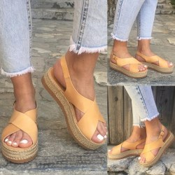 Plus Size Women Summer Peep Toe Buckle yellow 40