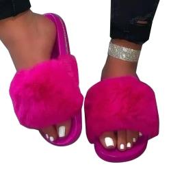 Plush Soft Kvinnor Home Flat Sandals Rose Red 41