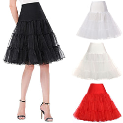 Retro Tiered Net Underskirt Swing Wedding Fancy Skirt Red S