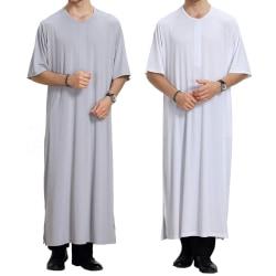 rund hals Casual Fit Thobe Abaya Robe - rund hals Casual Fit Th gray XL