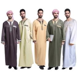 Långärmad mantel för män Lös och andningsbar bröstficka white 3XL