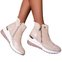 Sneaker Women's High Top Zip Up Wedge Ankle Booties Shoes Beige 42