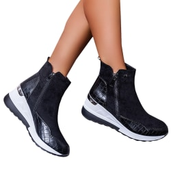 Sneaker Women's High Top Zip Up Wedge Ankle Booties Shoes Black 37
