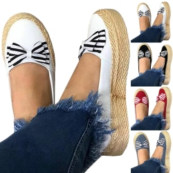 Striped Bow Female Shallow Platform Shoes Women gray 37