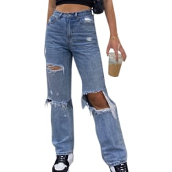 Stylish Ladies Loose Ripped Denim Pants Daily Commute Jeans M