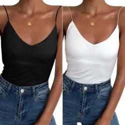 Snygg ren färg All-match låg-hals sexig camisole för kvinnor Black M