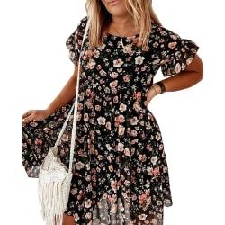 Sommar blommigt tryck lös klänning för kvinnor dejting klä upp Black XL