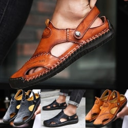 Summer Men Leather Sandals Stitching Closed Toe black 45