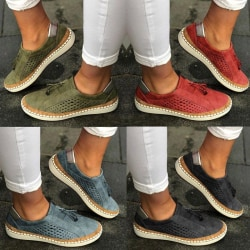 Summer Shoes Solid Color Round Head Sneakers Head red 39