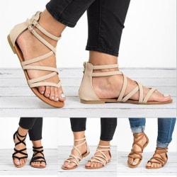 Summer Women Casual Cross Bandage Flat Sandals beige 39
