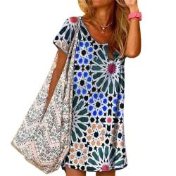 Sommar damtryckt rutig klänning rund hals Casual kjol Blue L