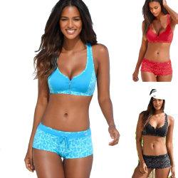 Swimsuit Split Four-corner Zipper Ladies Swimwear Beach Bikini Black S