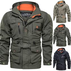 Waterproof Coat Windproof Warm Lightweight Hooded Zipper green M