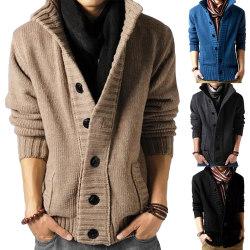 Winter High Neck Solid Color Coat denimblue 2XL