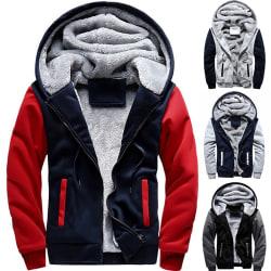 Winter Mens Plus Velvet Thicken Zipper Coat black&grey M