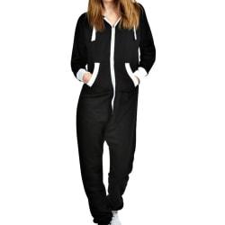 Winter Warm Fleece Playsuit Jumpsuit Zip Casual Pajama Homewear Black S