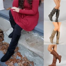 Winter Women Slouchy Flat Boots Casual Knee brown 6