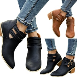 Women Ankle Boots Low Mid Block Heel Look Plain Shoes