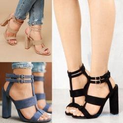 Women Ankle Strap High Block Heels Open Toe Strappy Blue 36
