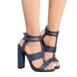 Women Ankle Strap High Block Heels Open Toe Strappy Blue 37
