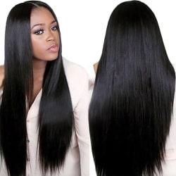 Women Black Long Striaght Hair Wigs Ladies As pics