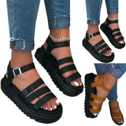 Women Buckle Strap Flatform Sandals Summer Beach Holiday Brown 38