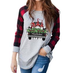 Women Christmas Xmas Ladies Plaid Long Sleeve Blouse Casual Tops L