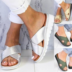 Women Cross Criss Sandals Open Toe Platform silver 39