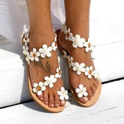 Women Fashion Flowers Sandals Bohemian Flat Shoes white 40