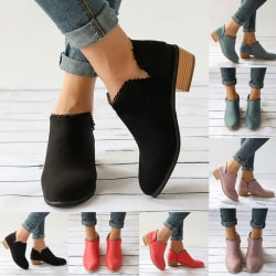 Women Fashion Pointed Toe Ankle Bootie Low Heeled Boots pink 43