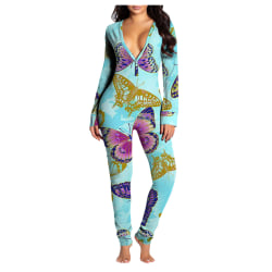 Women Fashion Printed V-neck Sexy Slim-fit Jumpsuit Indoors Blue XL