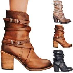 Women Fashion Punk Gothic Style Buckle Strap Khaki 36