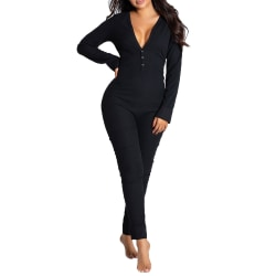 Women Fashion Slim Fit Jumpsuit Sexy Nightwear Warm Homewear Black M